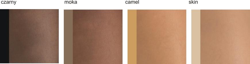 Kolorystyka linii Relaxsan Prestige: czarny, moka, camel, skin